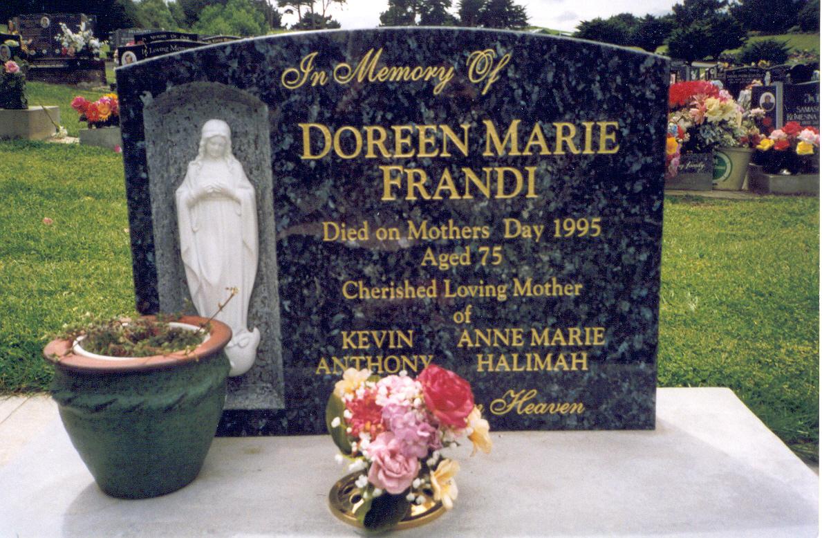 Copy of Doreen's headstone