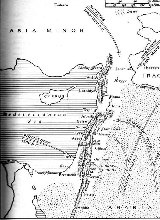 Syria as a causeway between the sea and the desert-(map from , 'SYRIA, LEBANON, JORDAN' - John Bagot Glubb