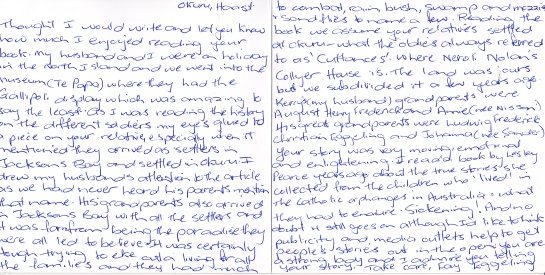 letter from Faye Eggeling